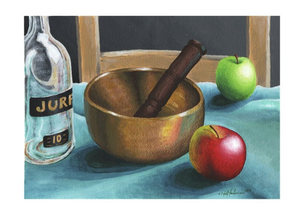 Wellbeing Still Life: Ohm Singing Bowl with Whisky Bottle and Apples (2012) by Neil Maclennan
