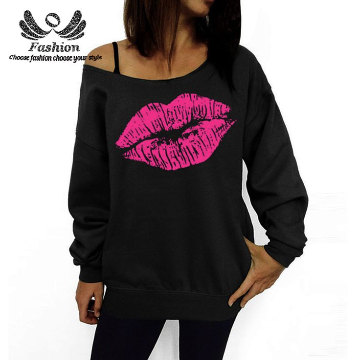 Find More Blouses & Shirts Information about 2016 Women Sweatshirts Tops Red Sexy Lips Print Oversized Off The Shoulder Raw Edge Female Pullovers Long Sleeved Blouses,High Quality blouses wholesale,China blouse shirt Suppliers, Cheap blouse wearing from Fashion Fara Store on Aliexpress.com