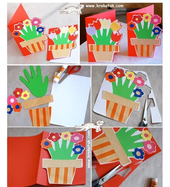 Card Crafts From Pinterest | Mother's day kids craft / HANDPRINT Card