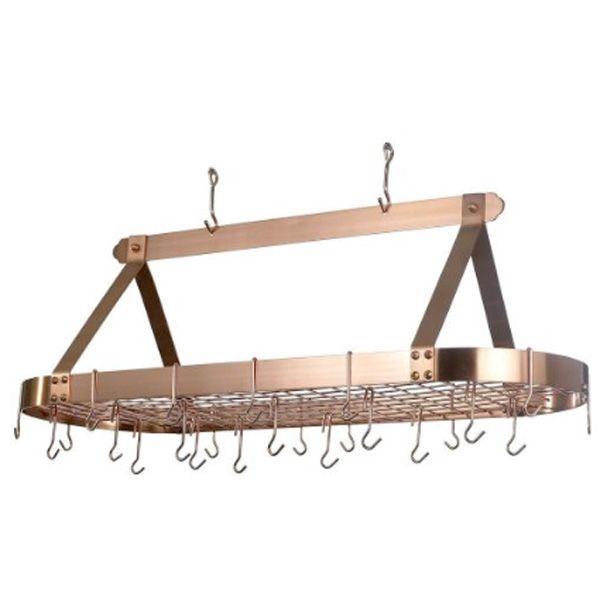 17 best images about copper pots pans on pinterest for Overhead pots and pans rack