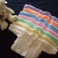 Hand Knitted - Beautiful Baby Matinee Coat / Cardigan - From Premature - 12inch Chest and upwards