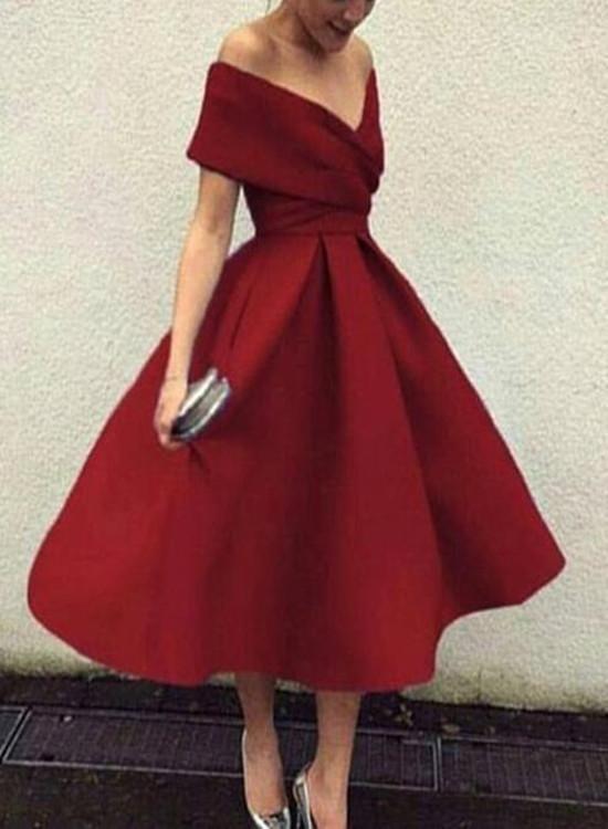 Dark Red Satin Tea Length Wedding Party Dresses, Charming Party Dresses, Short Formal Dresses