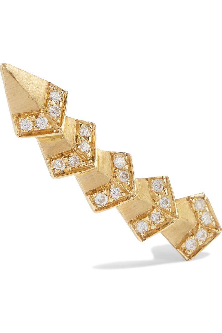 ILEANA MAKRI Rombus 18-karat gold diamond ear cuff. #ileanamakri #
