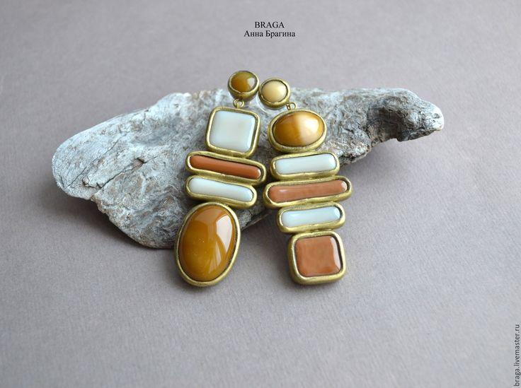 Купить Асимметричные серьги 35. Серьги из полимерной глины и стекла - бежевый, серьгми, асимметричные серьги