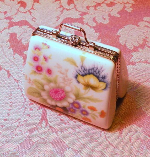 Vintage Porcelain Purse Pill Box