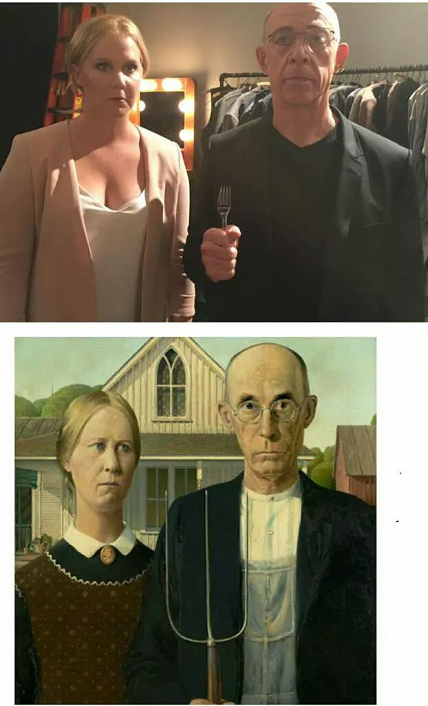 Someone on Twitter pointed out to Amy Schumer that she looks like the woman from American Gothic. Her and JK Simmons quickly responded with a photo.
