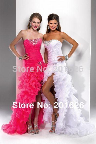 2014 новый индивидуальные свадебные платья без бретелек vestidos noiva 2014 свадебные платья высокого / низкого с романтической оборками