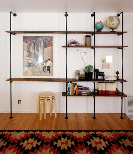 exactly what I had in mind for our home, except bolting upper flanges to ceiling because wall has a mirror. not sure where to get the piping but reuse hawaii should have reclaimed wood