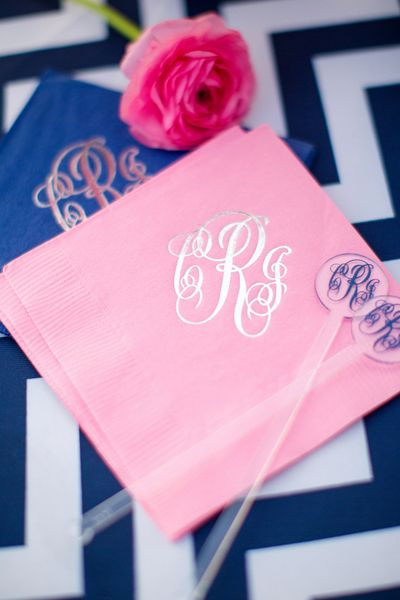 monogram stir sticks + napkins | Katelyn James #wedding