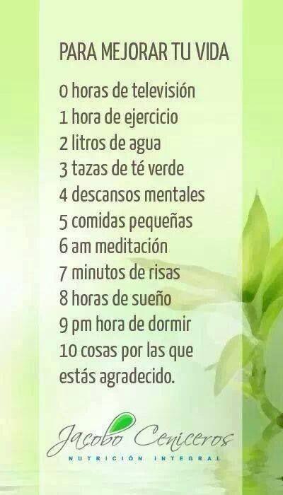 10 cosas para mejorar tu vida #bienestar #vidasana #salud