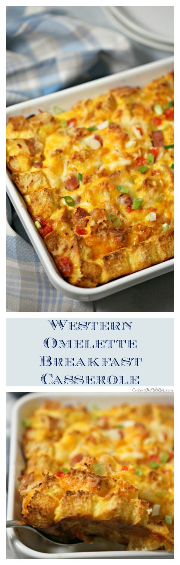 For brunch this holiday season, whip up this easy and delicious Western Omelette Breakfast Casserole, packed with the flavors of the classic diner omelette made with Eggland's Best Eggs!  You can even use that leftover holiday ham in this delicious brunch recipe. #sponsored #TheBetterEgg #OnlyEB #BreakfastCasserole  | Ham | Eggs |  Comfort Food | Western Omelette via @CookInStilettos