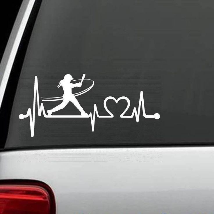 K1072 Softball Girl Batting Heartbeat © Lifeline Decal Sticker Glove Bat Helmet #BluegrassDecals