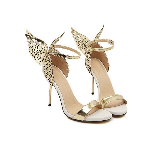 Gold High Heel Butterfly Sandals ($35) ❤ liked on Polyvore featuring shoes, sandals, gold sandals, high heels sandals, yellow gold shoes, high heel shoes and high heeled footwear