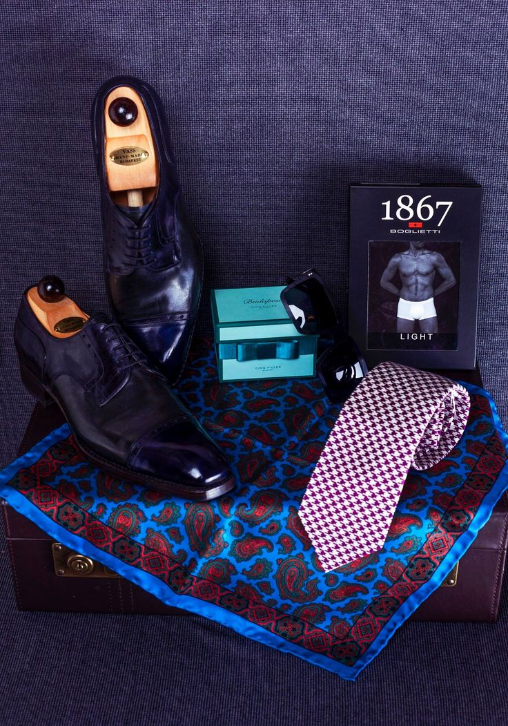 I picked this gift-set for my opera-loving friends, Mano and Abel... making sure to include some chocolates for the interval!  • Silk pochette and tie by Drake's and underwear by Boglietti, both from Simon Skottowe Bespoke Tailors • Two-tone Theresianer Derby shoes by Vass Shoes / Vass Cipő   • Vinylize by Tipton 'Brubeck' sunglasses from Tipton Eyeworks  • Cinq Filles box of mint chocolates from Arioso of Budapest