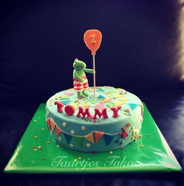 Kikker en z'n vriendjes feest taart ballon slingers birthday cake