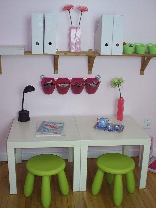 from Ikea? great idea for writing space in a kids room