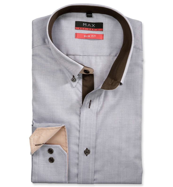 Slim Fit priliehavá hnedá štrukturovaná košeľa Rybia kostra (keprová tkanina)