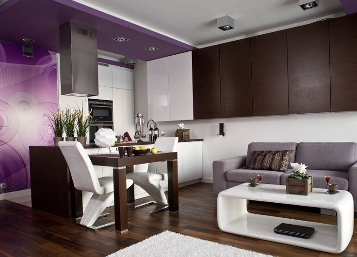<p>Aranżacja salonu z kuchnią jest nowoczesna i funkcjonalna. Mieszkanie ma 45 m<sup>2</sup>. W aranżacji salonu uwagę zwracają fioletowe ściany i ciemna, brązowa podłoga. Projetanci wnętrz na niewielkiej powierzchni stworzyli elegancki apartament.</p>