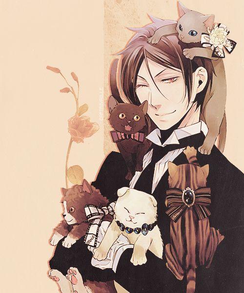 sebastian with kittens :3 so cute! -- black butler!