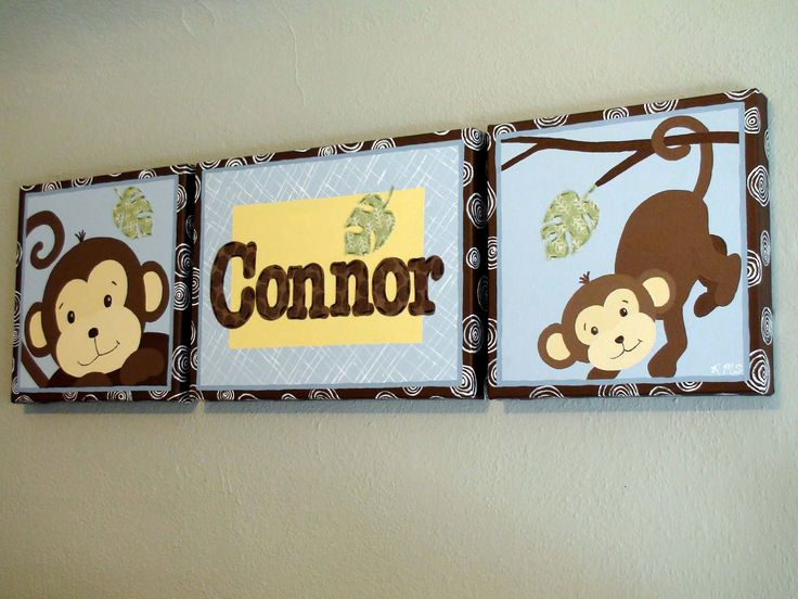 Kids Wall Art - Monkey Paintings On Canvas With Childs Name In Hand-Stitched Fabric (Total Size is 12 x 40 inch). $189.00, via Etsy.