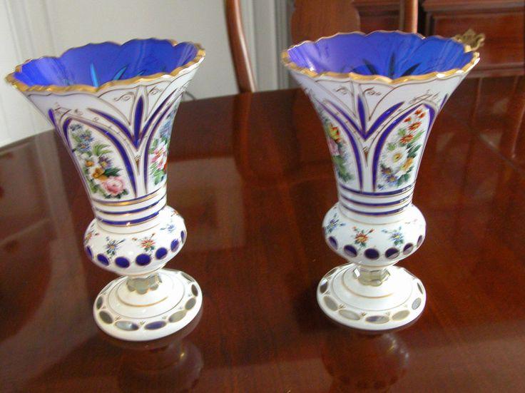 Две потрясающие античный Мозер вырез для кобальт синий наложения ручной росписью стеклянные вазы | Керамика и стекло, Стекло, Художественное стекло | eBay!
