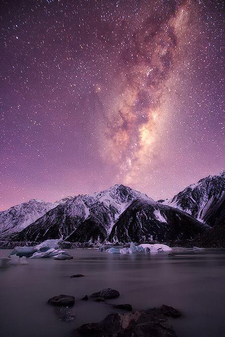 Mountain Of Stars. Lake Tasman Mount Cook, South Island, New Zealand.