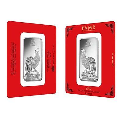 Lot of 2 - 100 gram PAMP Suisse Year of the Rooster Silver Bar (In Assay)