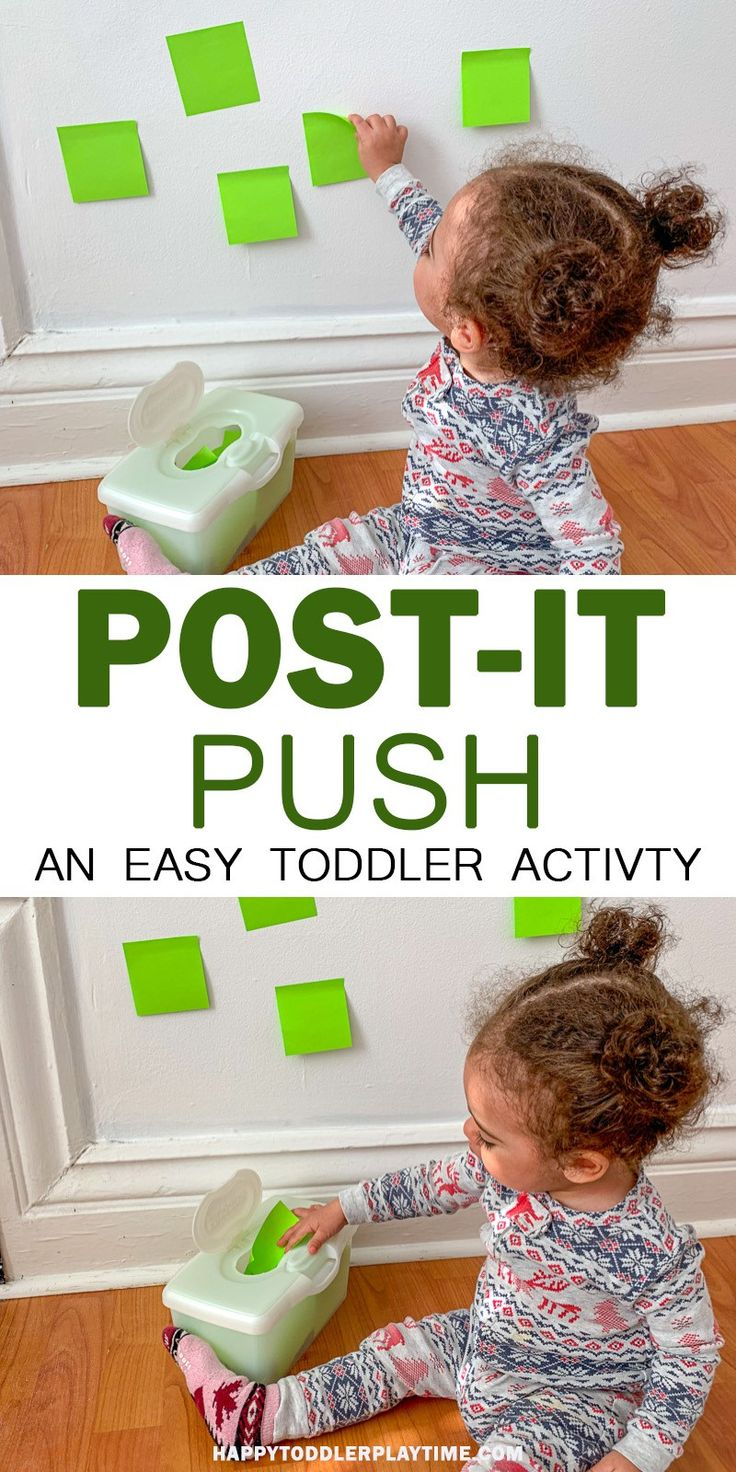 Post-it Push – HAPPY TODDLER PLAYTIME In need of a quick activity to keep your…