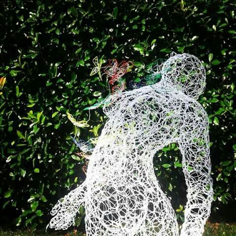 "Steel Wire Sculpture by Giuseppe Inglese www.giuseppeinglese.com ""Breath - of heart"" Luminescent woven stainless steel sculpture 92 x 70 x 68 cm ca.  2016 Unique Piece P.U."