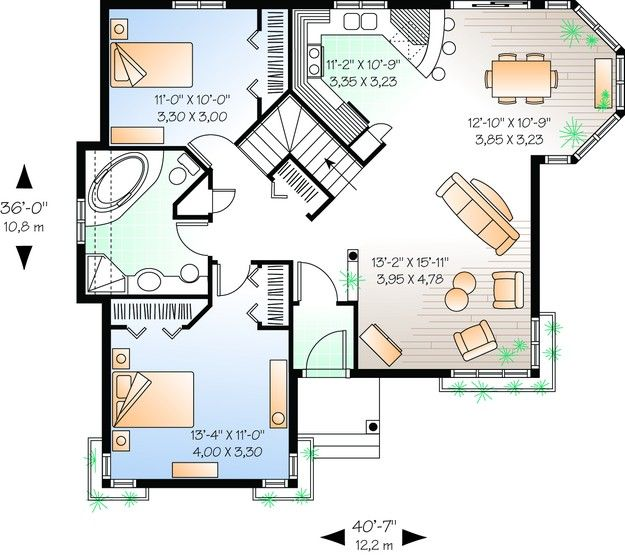 House Plan 034 00248 Country Plan 1 113 Square Feet 2 Bedrooms 1 Bathroom Cottage Floor Plans House Plans How To Plan