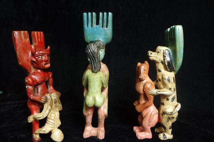 Guatemalan Original Folk Art: Hand-carved Wooden Erotic Slingshots: Set of 3