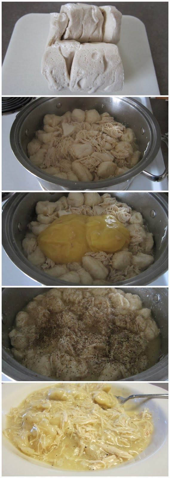 Quick and Easy Chicken and Dumplings. My husband will love this. I find it repulsive. But made from scratch he hates.