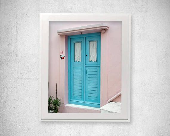 Door photography Dusty Pink Wall Art Greece Photography Greek