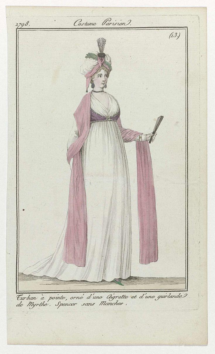 Journal des Dames et des Modes, Costume Parisien, 1 avril 1798, (13) : Turban à pointe..., Anonymous, 1798