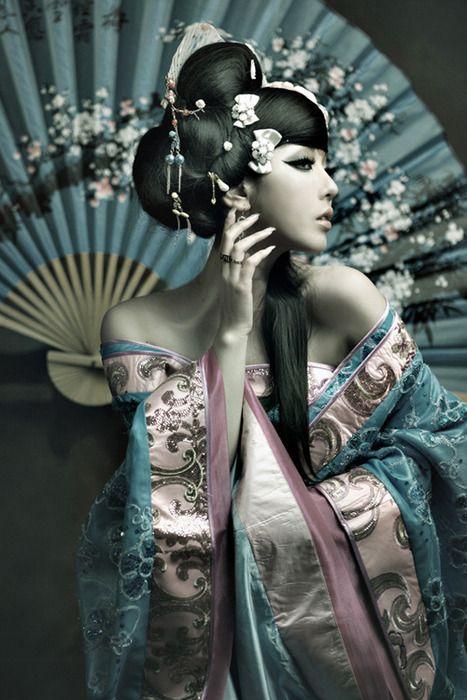 Japanese Lady w/ Turquoise Kimono