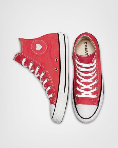 Chuck Taylor All Star Denim Love High Top Sedona Red Black White 33ed983f8
