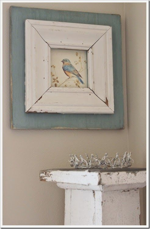 salvage wood picture frame from fishtail cottage