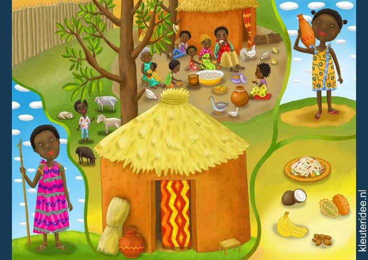 Praatplaat Afrika voor kleuters, kleuteridee.nl, free printable (groot formaat) / African children's illustrations preschool / Láminas Didácticas