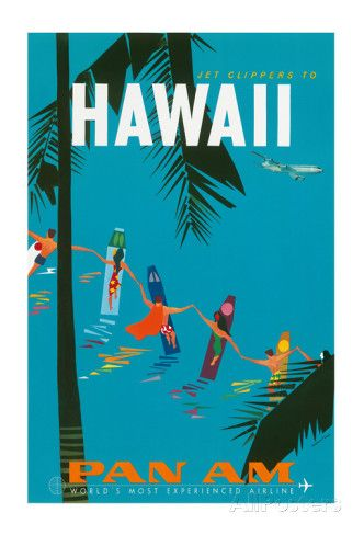 Jet Clippers to Hawaii - Pan American Airlines (PAA) - Hawaiian Surfers Linking Hands Impression giclée