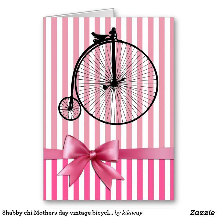 Rosa gasto da bicicleta do vintage do dia das mães cartão comemorativo