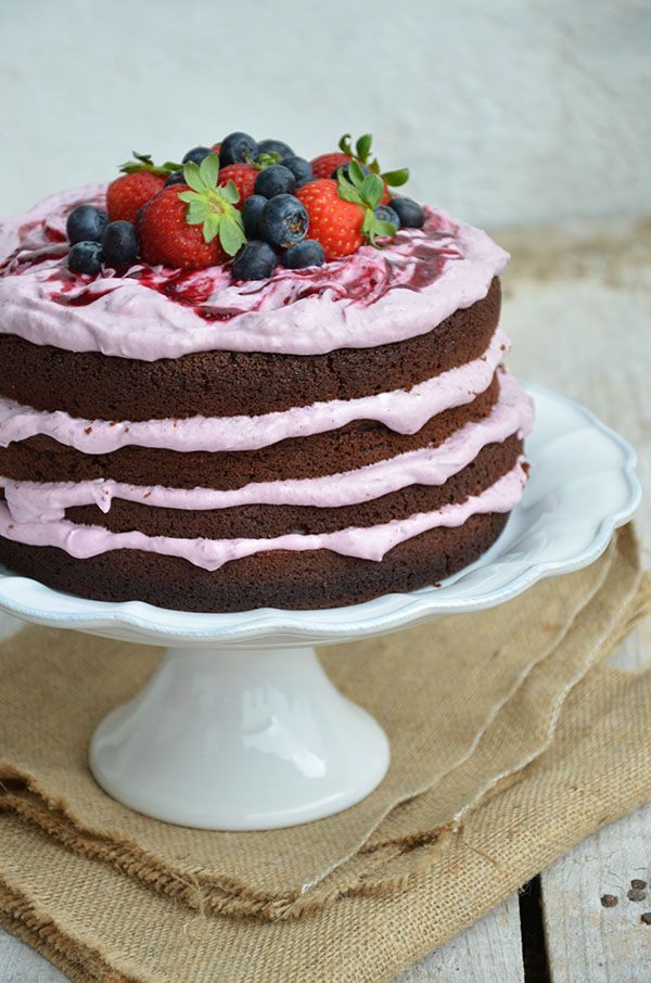 Chocolate Cake, filled with a Strawberry and Blueberry Cheesecake Mousse