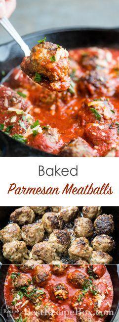 Baked Parmesan Meatballs Recipe for Easy Italian Meatball Dinner| @bestrecipebox