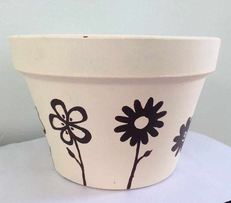 Painted terracota pot