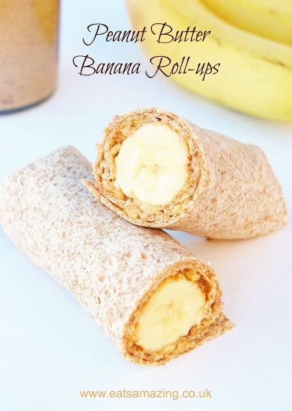 Quick and easy healthy breakfast ideas for kids from Eats Amazing UK - Peanut Butter Banana Roll-ups Recipe