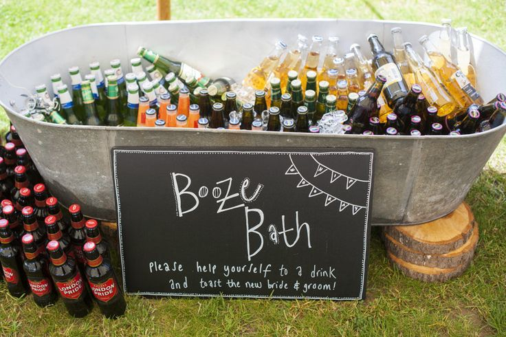 Bottle filled Booze Bath | Source Images | http://www.rockmywedding.co.uk/sarah-oli/