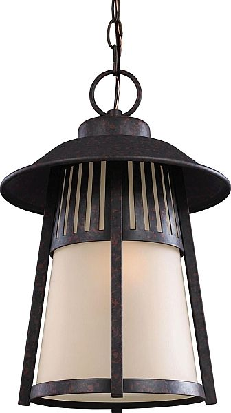 Hamilton Heights One Light Outdoor Pendant in Oxford Bronze with Smokey Parchment Glass