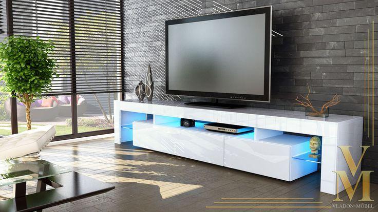 New white high gloss tv stand media entertainment center for Mobili per salotto moderni