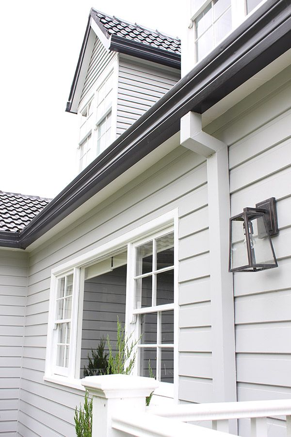 Roof gutters and fascia monument weatherboard milton moon vivid white trims exteriors - Dulux exterior paint colour schemes property ...