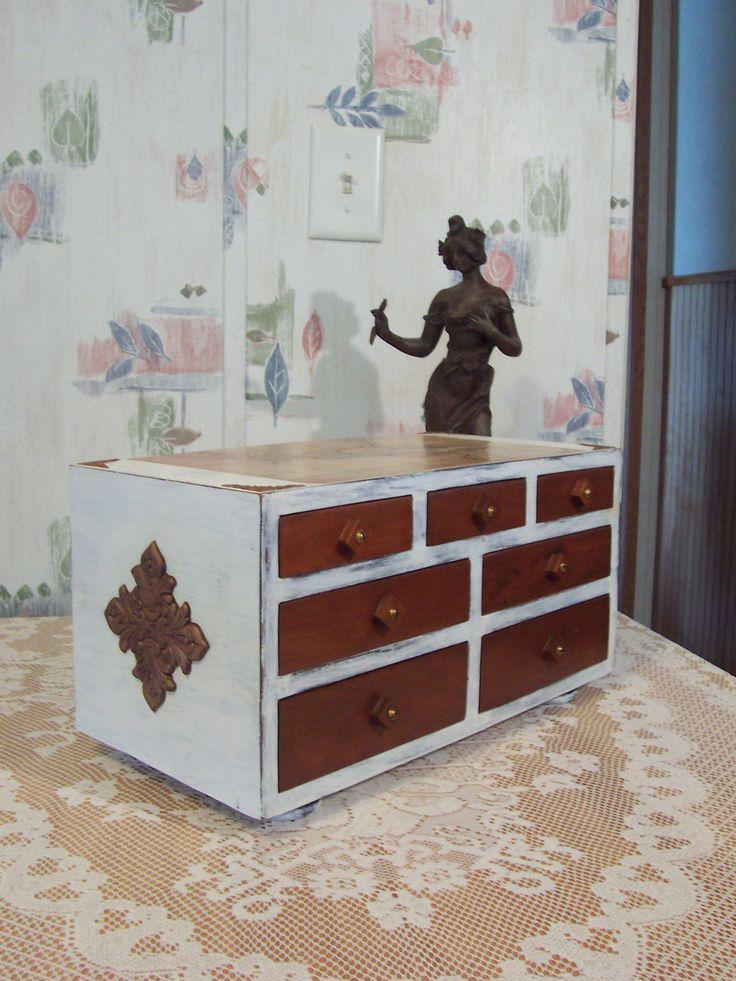 Vintage Primitive Apothecary Spice Chest Box, Mens