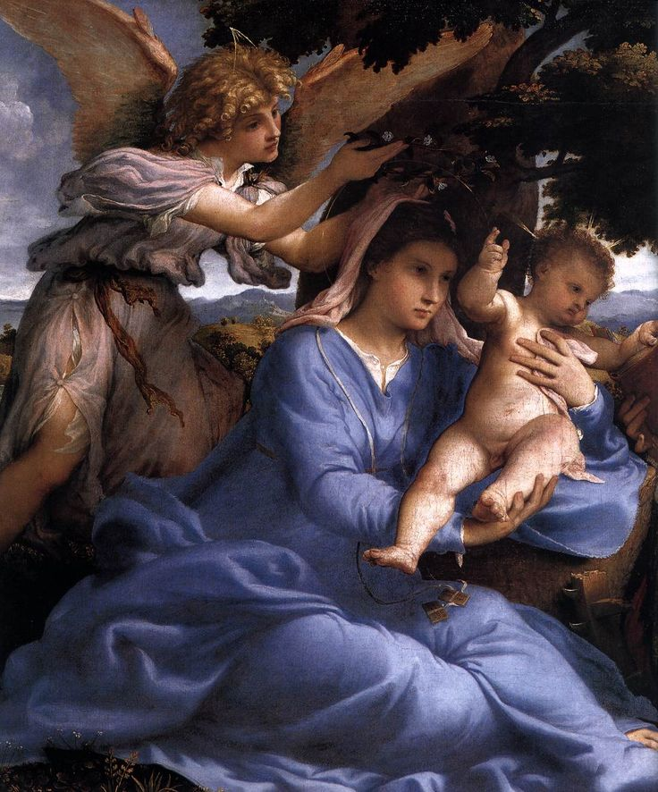 Lorenzo Lotto: Madonna and Child with Saints and an Angel (detail, 1527-28, Vienna, Kunsthistorisches Museum)